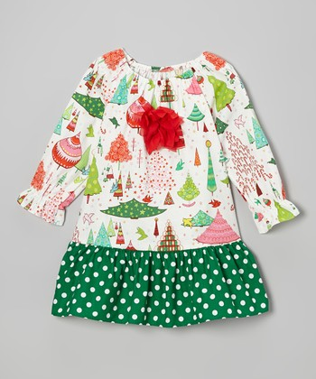 Green Christmas Things Peasant Dress - Toddler & Girls