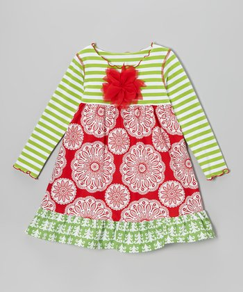 Red Flower Christmas Ruffle Swing Dress - Toddler & Girls