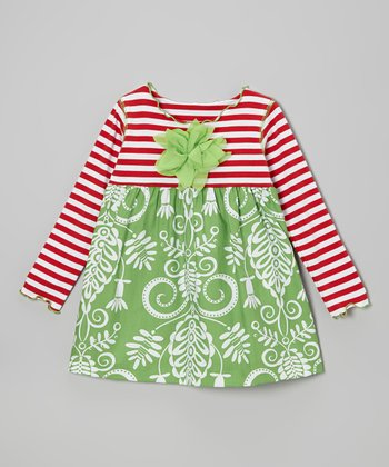 Green & Red Vine Lettuce Swing Top - Toddler & Girls