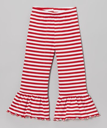 Red & White Stripe Ruffle Pants - Toddler & Girls