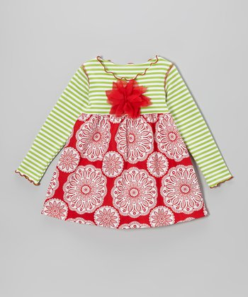 Red Flower Christmas Lettuce Swing Top - Toddler & Girls