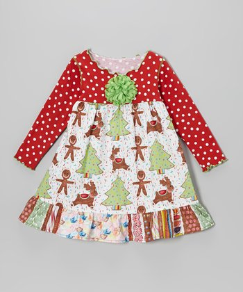 Red & Green Gingerbread Cookies Ruffle Swing Dress - Toddler & Girls