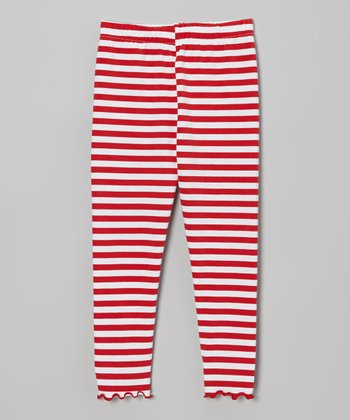Red & White Stripe Leggings - Toddler & Girls
