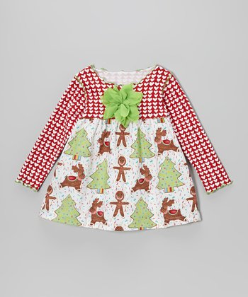 Red & Green Gingerbread Cookies Lettuce Swing Top - Toddler & Girls