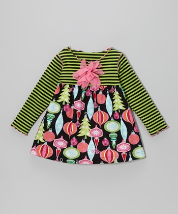 Black & Green Ornaments Lettuce Swing Top - Toddler & Girls