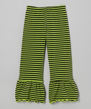 Black & Green Stripe Ruffle Pants - Toddler & Girls