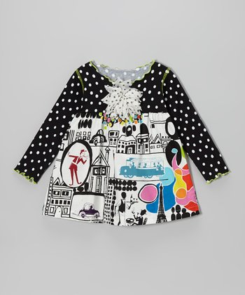 Black Bright Mod Lettuce Swing Top - Toddler & Girls