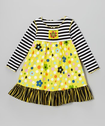 Black & Yellow Flower Dot Lettuce Dress - Toddler & Girls