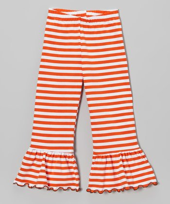 Orange Stripe Ruffle Pants - Toddler & Girls