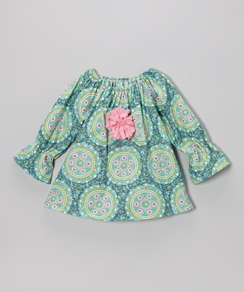 Aqua Medallion Peasant Top - Toddler & Girls