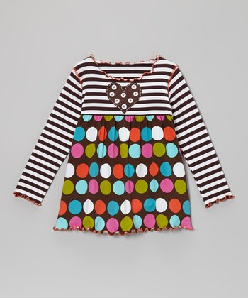 Brown Polka Dot Swing Top - Toddler & Girls