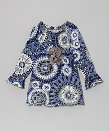 Navy & Gray Abstract Flower Peasant Top - Toddler & Girls