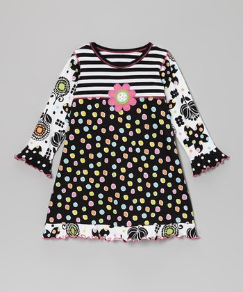 Black Flower Empire-Waist Dress - Toddler & Girls
