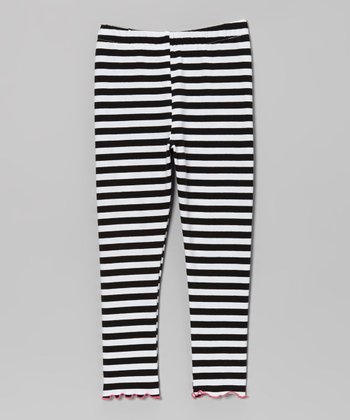 Black & White Stripe Leggings - Toddler & Girls