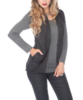 Black Rhinestone Vest - Women & Plus