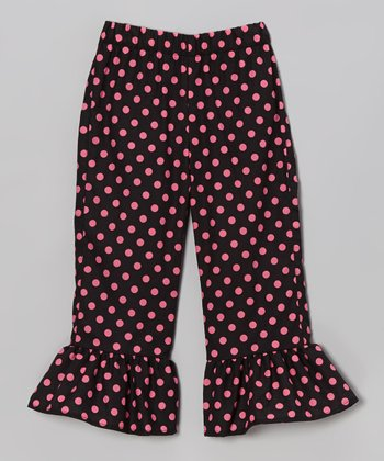 Black & Pink Polka Dot Ruffle Pants - Toddler & Girls