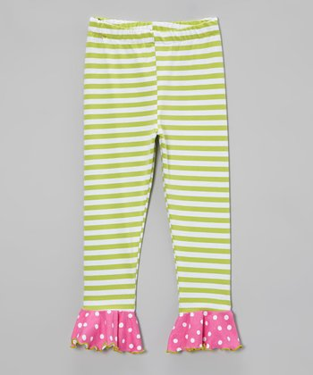 Green & Pink Stripe Polka Dot Flounce Leggings - Toddler & Girls