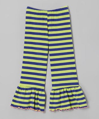 Purple & Green Stripe Ruffle Pants - Toddler & Girls