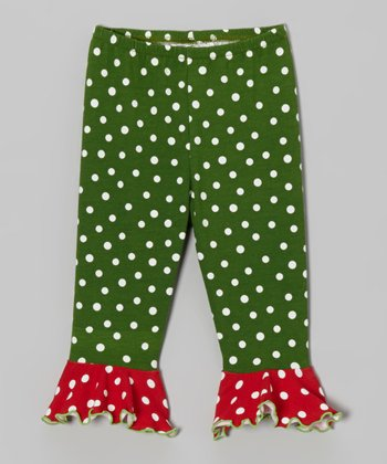 Dark Green & Red Polka Dot Ruffle Leggings - Infant & Toddler