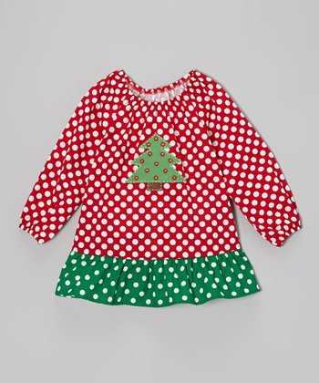 Red & Green Christmas Tree Peasant Top - Toddler & Girls