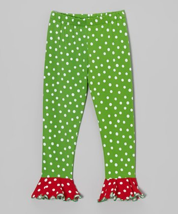 Green & Red Polka Dot Ruffle Leggings - Toddler & Girls