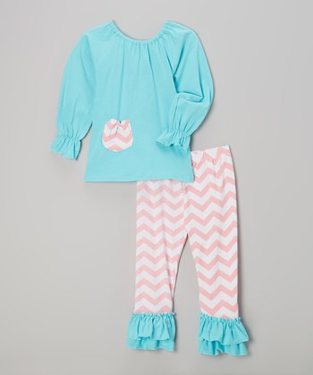 Blue & Orange Zigzag Top & Pants - Infant, Toddler & Girls