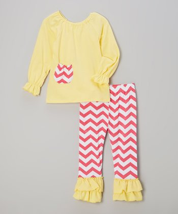 Yellow & Red Zigzag Top & Pants - Infant, Toddler & Girls