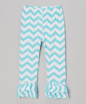 Blue & White Zigzag Ruffle Pants - Infant, Toddler & Girls