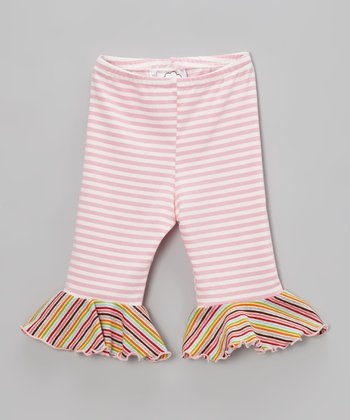 Pink Stripe Ruffle Capri Pants - Infant