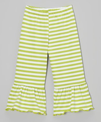 Tea Green & White Stripe Ruffle Capri Pants - Toddler & Girls
