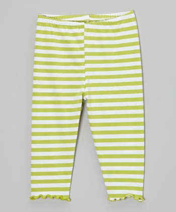 Tea Green Stripe Lettuce-Edge Capri Pants - Toddler & Girls