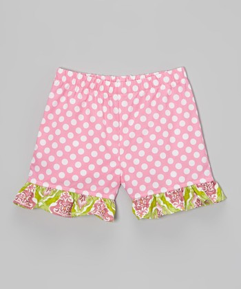 Pink Polka Dot Ruffle Shorts - Toddler & Girls