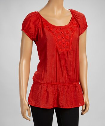 Orange Beaded Drop-Waist Peasant Top