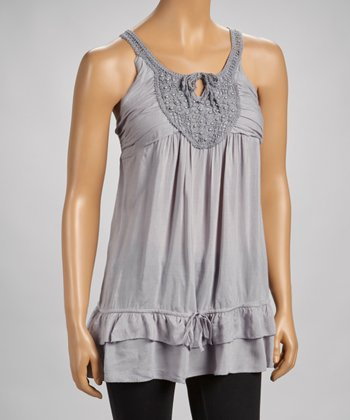 Silver Beaded Lace Drop-Waist Tank