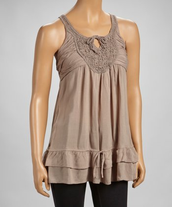 Taupe Beaded Lace Drop-Waist Tank