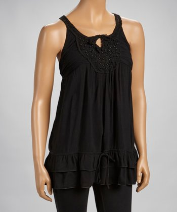 Black Beaded Lace Drop-Waist Tank