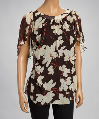 Brown Floral Tunic Top