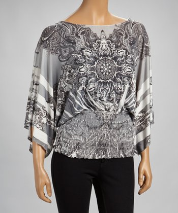 Black & White Sublimation Cape-Sleeve Top