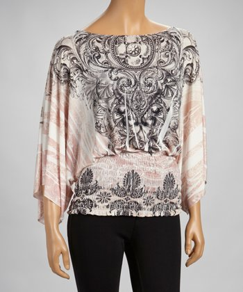 Pink Sublimation Cape-Sleeve Top
