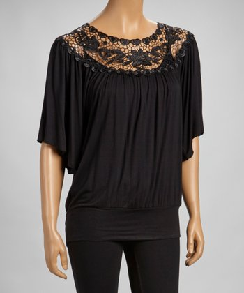 Black Lace-Border Flutter Sleeve Top