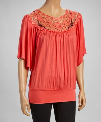 Coral Lace-Border Flutter Sleeve Top