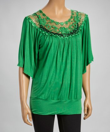 Kelly Green Lace-Border Flutter Sleeve Top