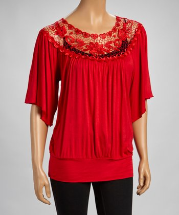 Red Lace-Border Flutter Sleeve Top