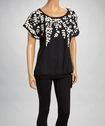 Black Embroidered Scoop Neck Top
