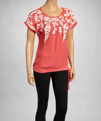 Coral Embroidered Scoop Neck Top
