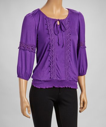 Purple Crocheted Shirred Scoop Neck Top