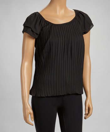 Black Pleated Angel-Sleeve Top