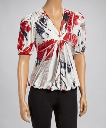Red Sublimation Lace-Back V-Neck Top