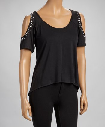 Black Sleeveless Cutout Tunic