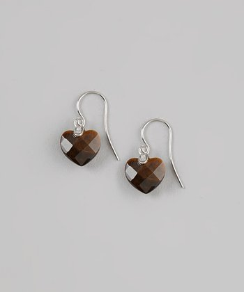 Tigereye & Sterling Silver Heart Faceted Drop Earrings